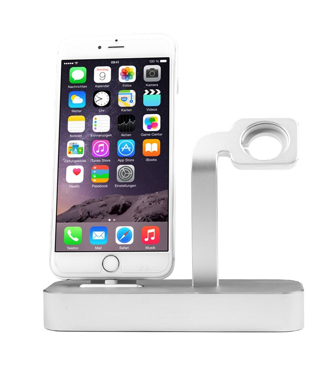Apple Watch Stand, i-DRAWL 2 in 1 Premium Aluminum Charging Dock Station Stand Holder for Apple iWatch & iPhone(iPhone 5/5S/6/6 Plus, iWatch BASIC / SPORT / EDITION Model)