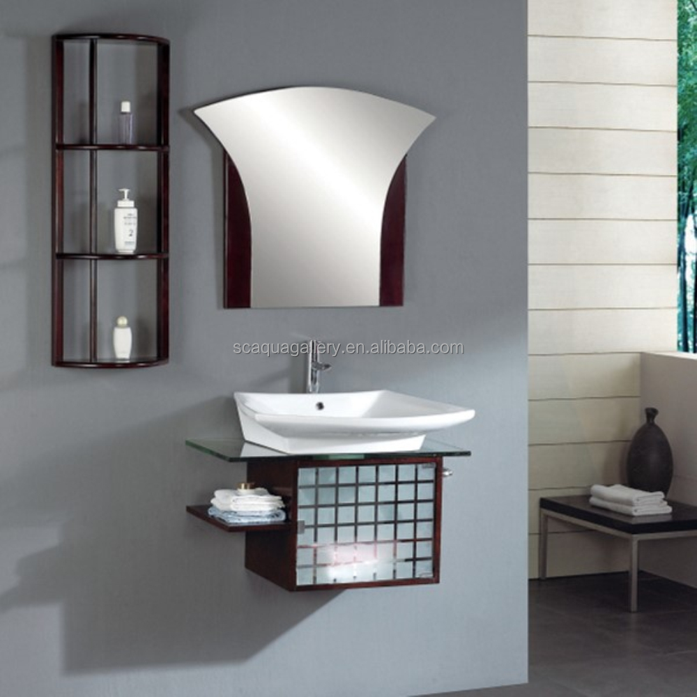 Customized Bathroom Vanity Set With Oak Wall Unit Tempered Gl Counter Wood Cabinet Furniture Vanities Product