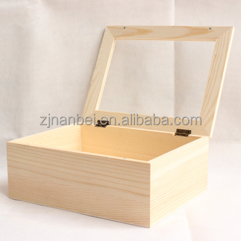 Clear Lid Pine Wood Storage Boxes, Unfinished Wooden Box With Magnet Lid