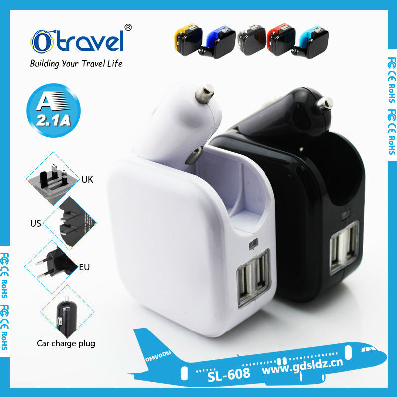 2 in 1 EU/US/UK/AUS Plug AC Power Charger adapter, car and wall charger/car accessories for cell phone