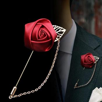 Men's Suits Gold Leaves Roses Brooches Corsage Flowers Long Needle With  Chain Handmade Lapel Pin Brooch - Buy Brooch Pins Jewelry,Long Needle With