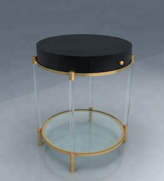 Customized acrylic tea or coffee table with golden edge