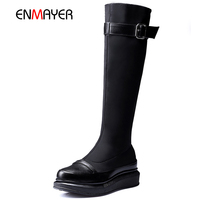Top quality true cow leather lady back zipper warm plush lining thick sole boots