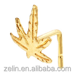 Gold plated hemp leaf L-shape nose stud body piercing jewelry