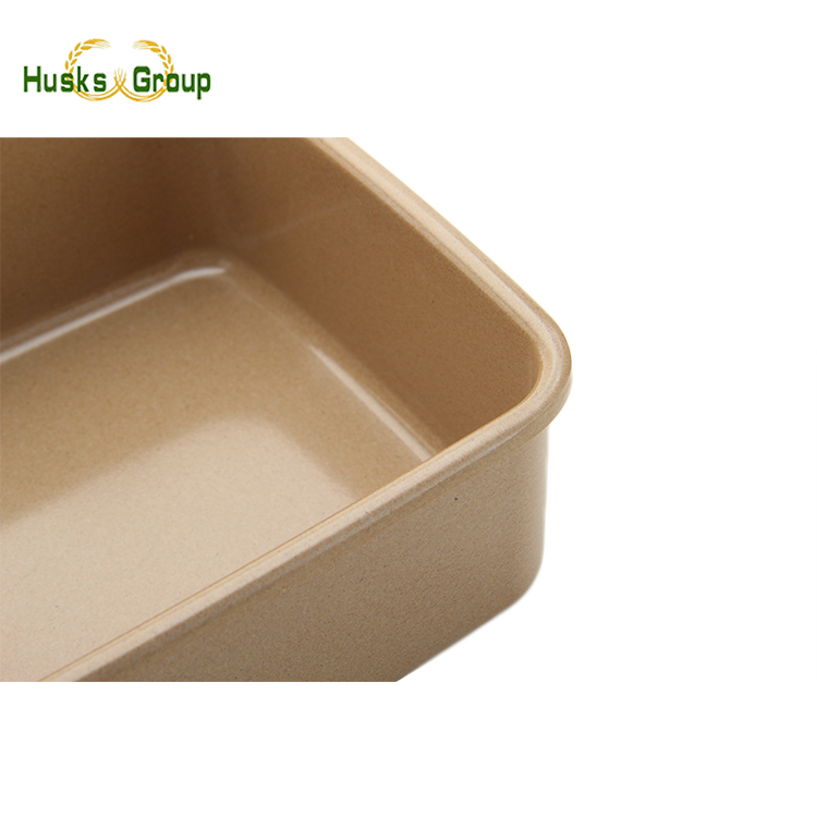High quality cheap natural rice husk fiber square lunch box