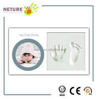 Baby Handprint Footprint Kit,Wood Babyprints Keepsakes Photo Frames with safe Clay