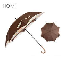 Promotional Elegant Lace Pattern Disposable Long Flower Straight Umbrella