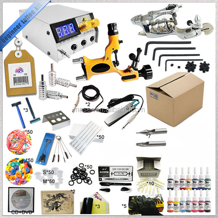 Beginner and professional complete accessories tattoo machine set hot sale tattoo kit with 1 rotary tattoo guns
