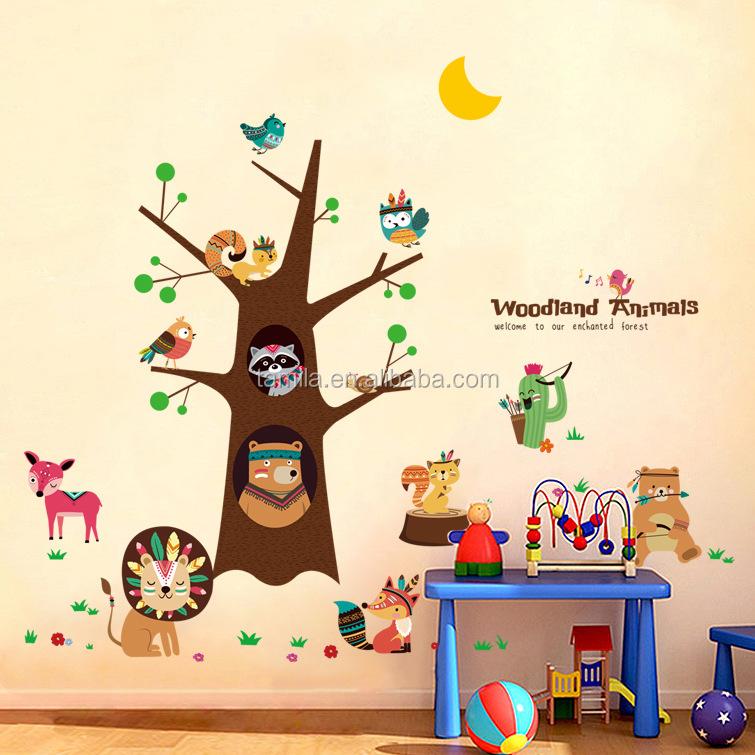 Jungle Forest Animal Owl Squirrel Children Nursery Wall Decal Sticker Art Stickers Vinyl Decals Home Decor