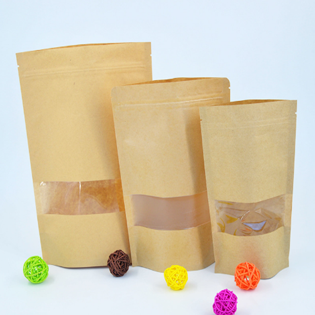 Wholesale frosted window plain brown kraft paper bag for tea <strong>packing</strong>