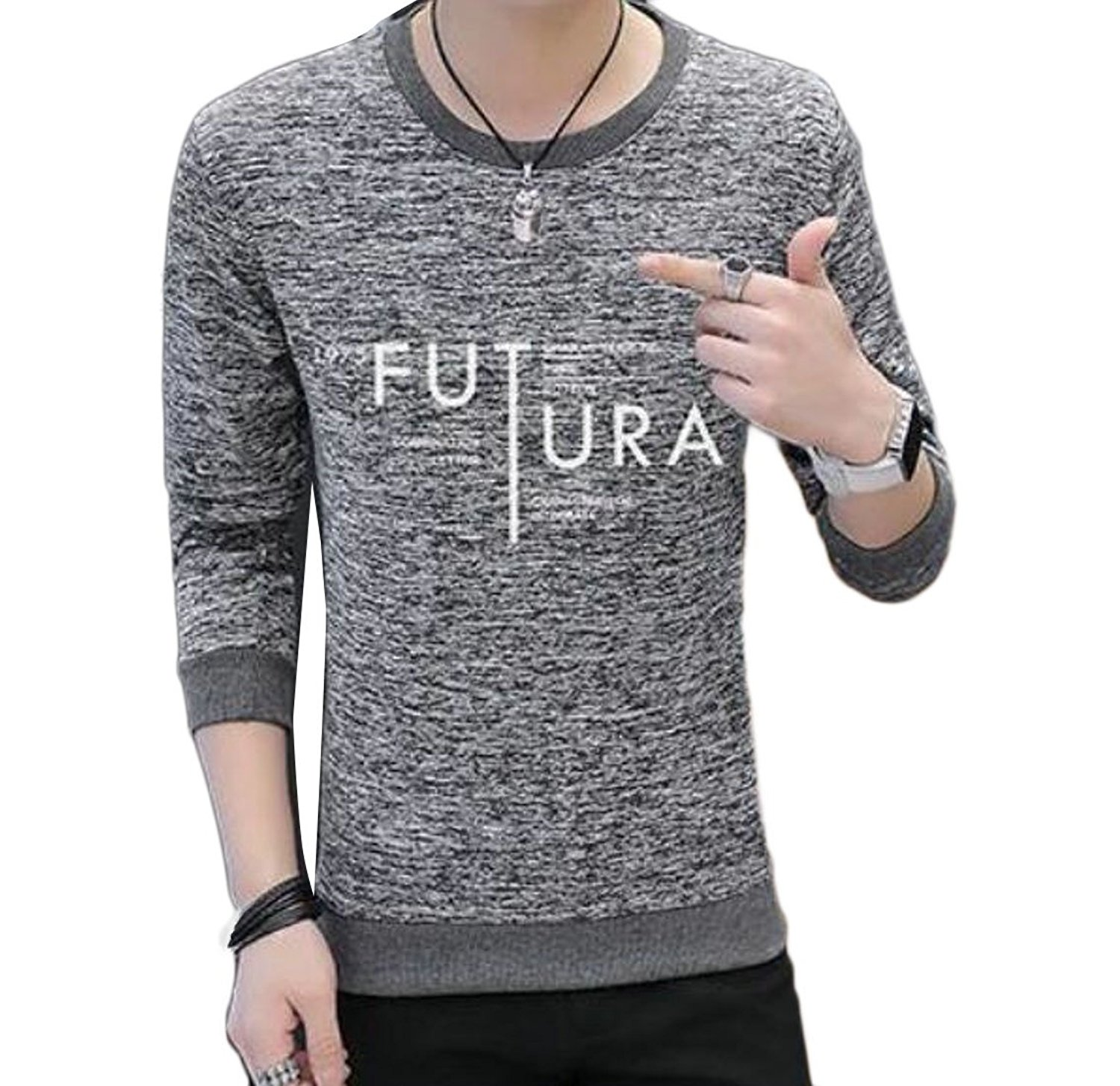 Coolred-Men Long Sleeve Crew-Neck Slim Wild Casual T Shirts