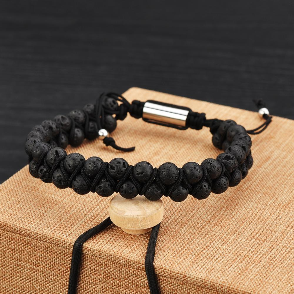 Wholesale Men Jewelry Double Black Lava Stone Mens Adjustable Rope Bracelet