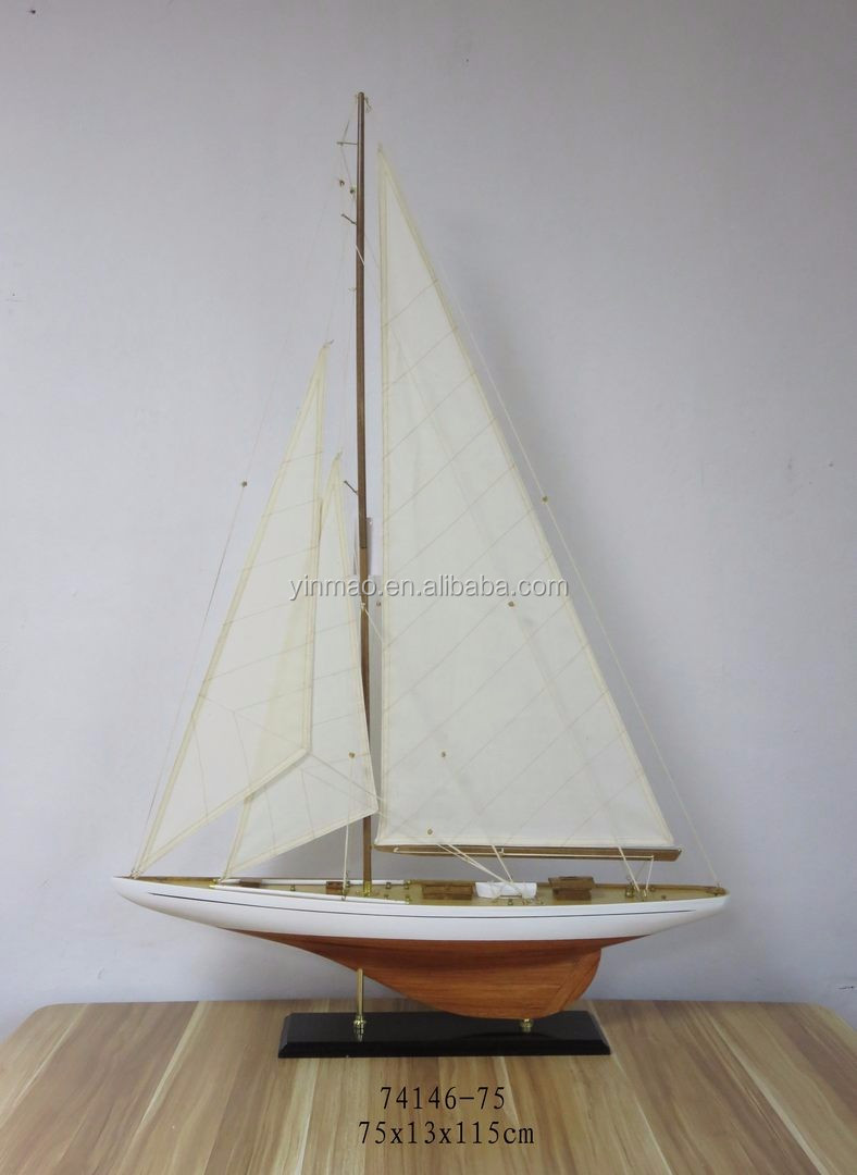 Wooden racing yacht replic model, 60x11x87cm, Brown home table vessel  nautical sailing model decoration