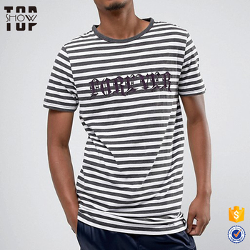 Men T Shirts Embroidery Designs Slogan Striped T Shirt Custom Made