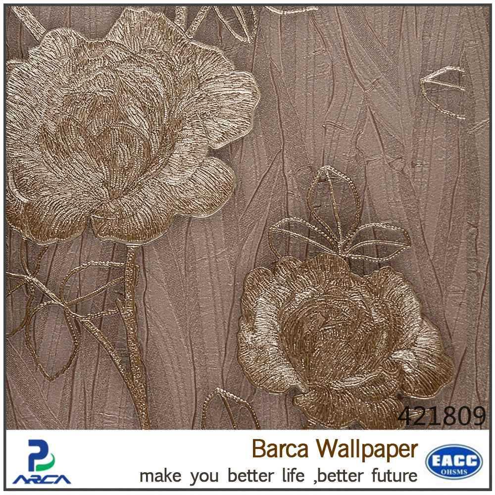3dゴシックスタイル花デザインインテリアビニール壁紙中国サプライヤー