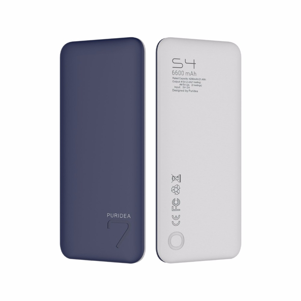 PURIDEA S4 6600mah slim Power Bank factory oem rohs ce power bank mobile battery charger for iPhone 7 8 8plus SAMSUNG XIAOMI