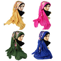 ethnic style holiday use 2017 Spring summer plain flowers long cotton embroidered scarf shawls