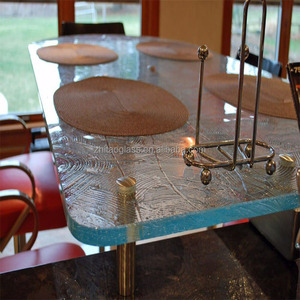 Frosted thick glass table dining glass table tops