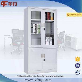Steel Office File Cabinet Half Glass Swing Door Cupboard For Clinic