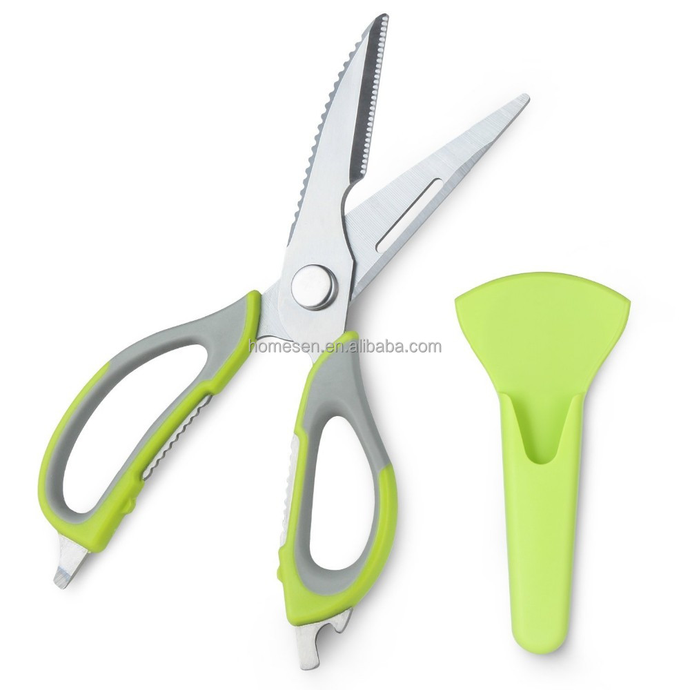 yangjiang wholesale professional stainless steel kitchen scissor, vegetables cutting scissors, heavy duty kitchen shears