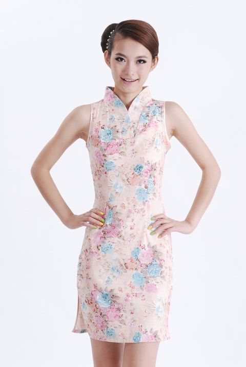 c7b79dc0d Get Quotations · 2015 Senior Dress Multicolor Women's Silk Dress Elegant V-Neck  Cheongsam Top Short Flower Qipao