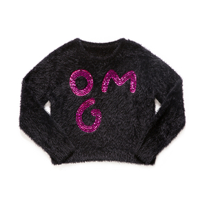 European Style 100% Polyester Pullover,Bright Sequined Black Children Sweater