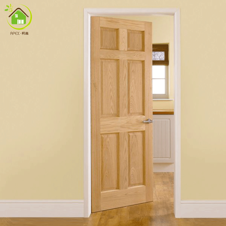 Solid Oak Wood 6 Panel Interior Wooden Room Doors Design