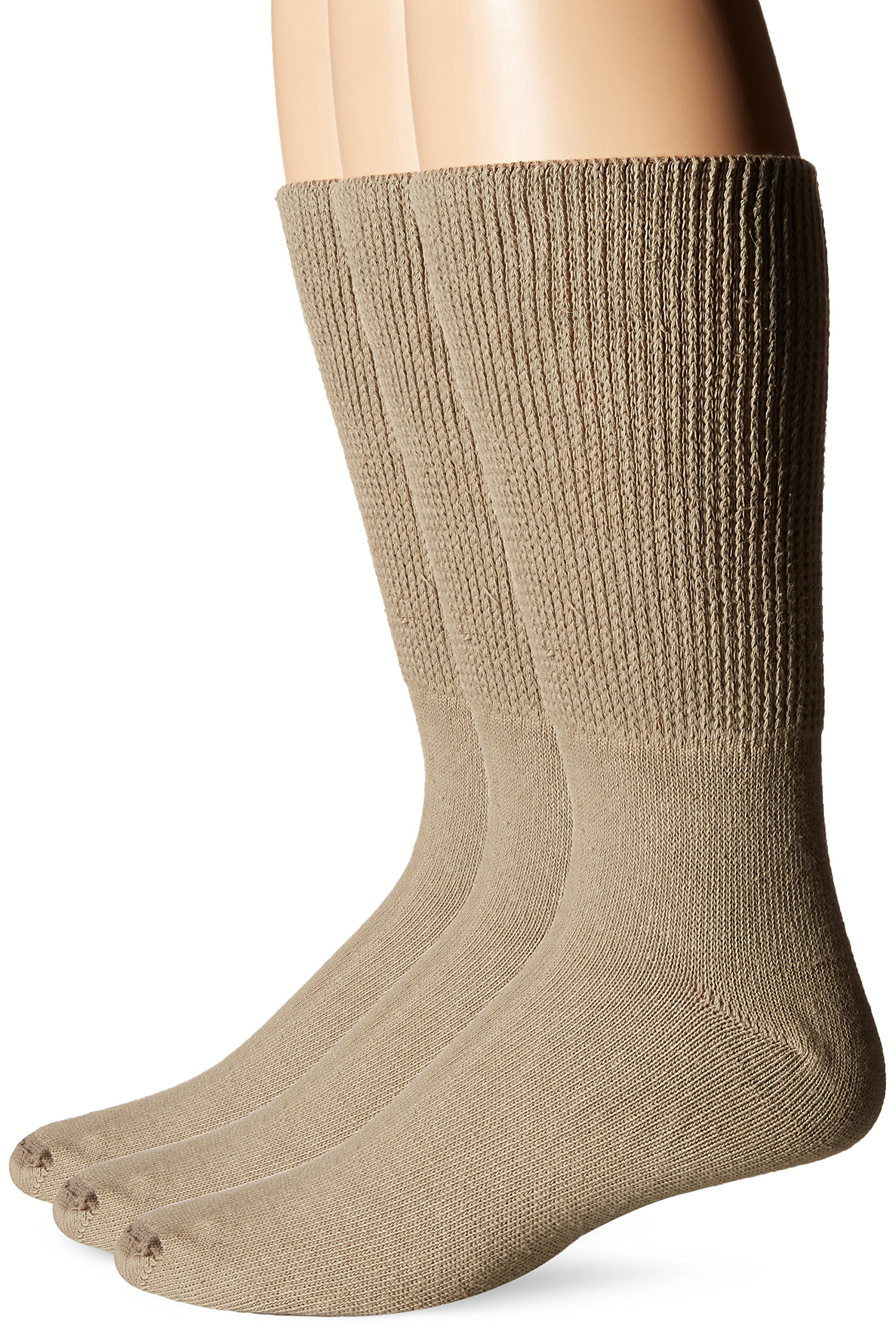 Extra-Wide Medical Crew Socks for Men (11-16(up to 6E wide)-Tan-3pk