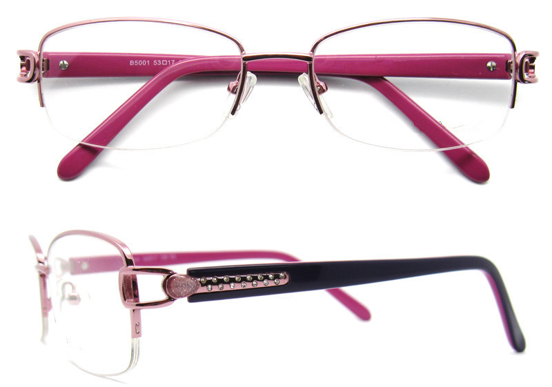 women metal optical frame china wholesale halfrim optical eyeglasses frame rhinestone eyeglass frames b50201 - Womens Metal Eyeglass Frames
