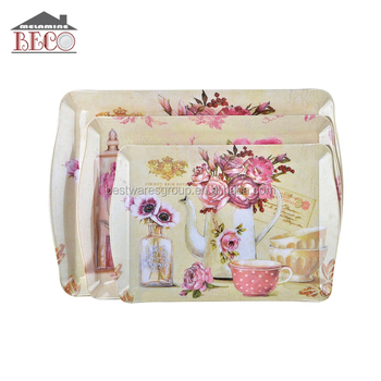 Beautiful Flower Printed Plastic Food Carrier Tray