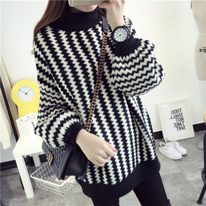 B31059A Europea classic fashion wave stripe lantern sleeve turtleneck loose knitted sweater