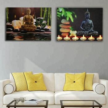 Led Canvas Prints Zen Canvas Wall Art Buddha Wall Decor With Green