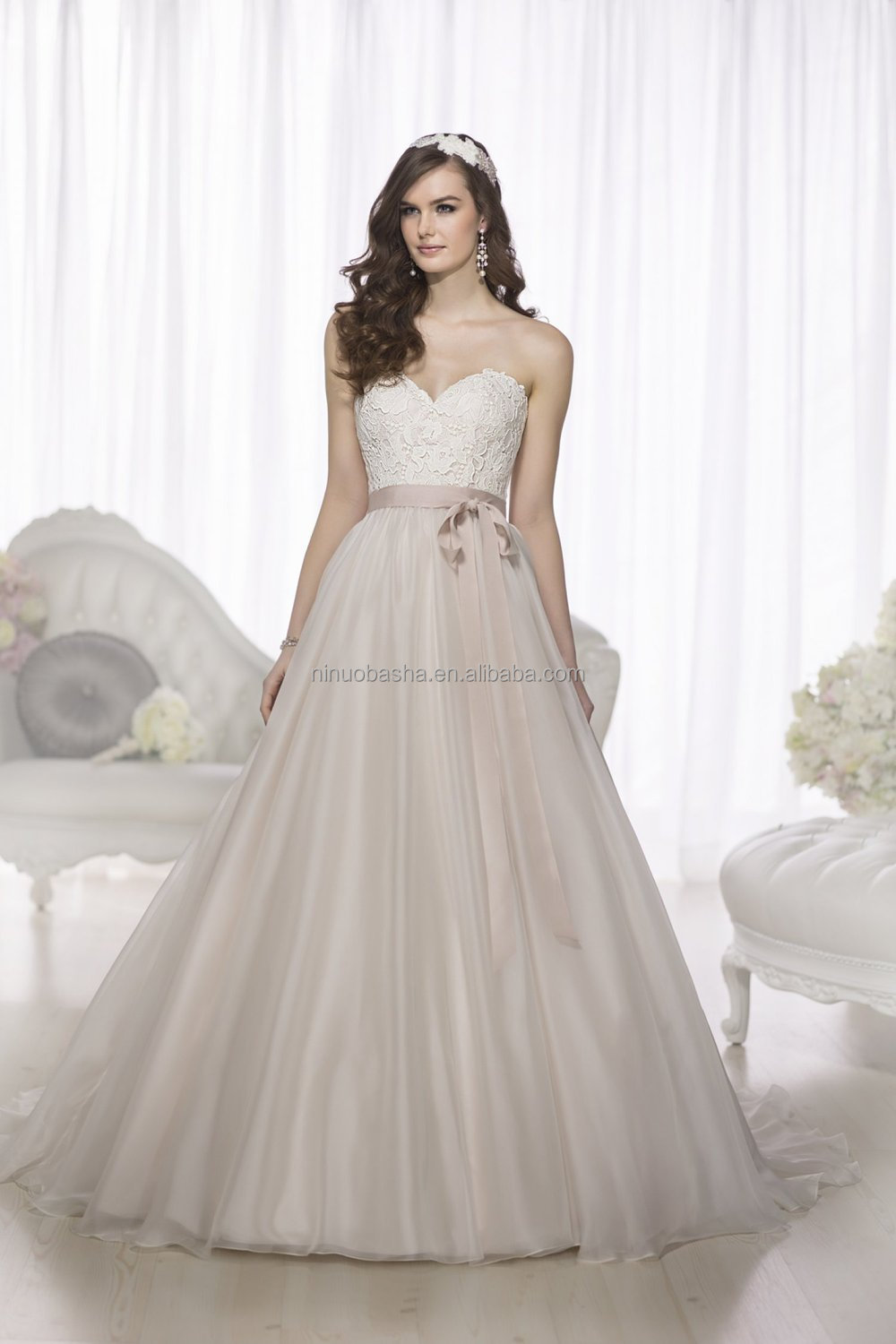 Simple 2015 Ball Gown Wedding Dress Sweetheart Long Tail Lace ...