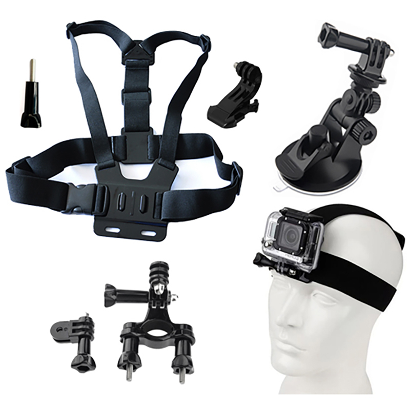 GoPro accessories A Set of Kit Handlebar Mount+Suction Cup+Chest Strap+Head Strap+2 Joint+ 2 Screws For Gopro Hero 4 3+ 3 2