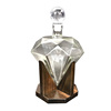 33oz Diamond Liquor Decanter Scotch Whiskey Decanter 1000ml Diamond Decanter With Wood Base for Alcohol Rum Wine Whiskey Tequila