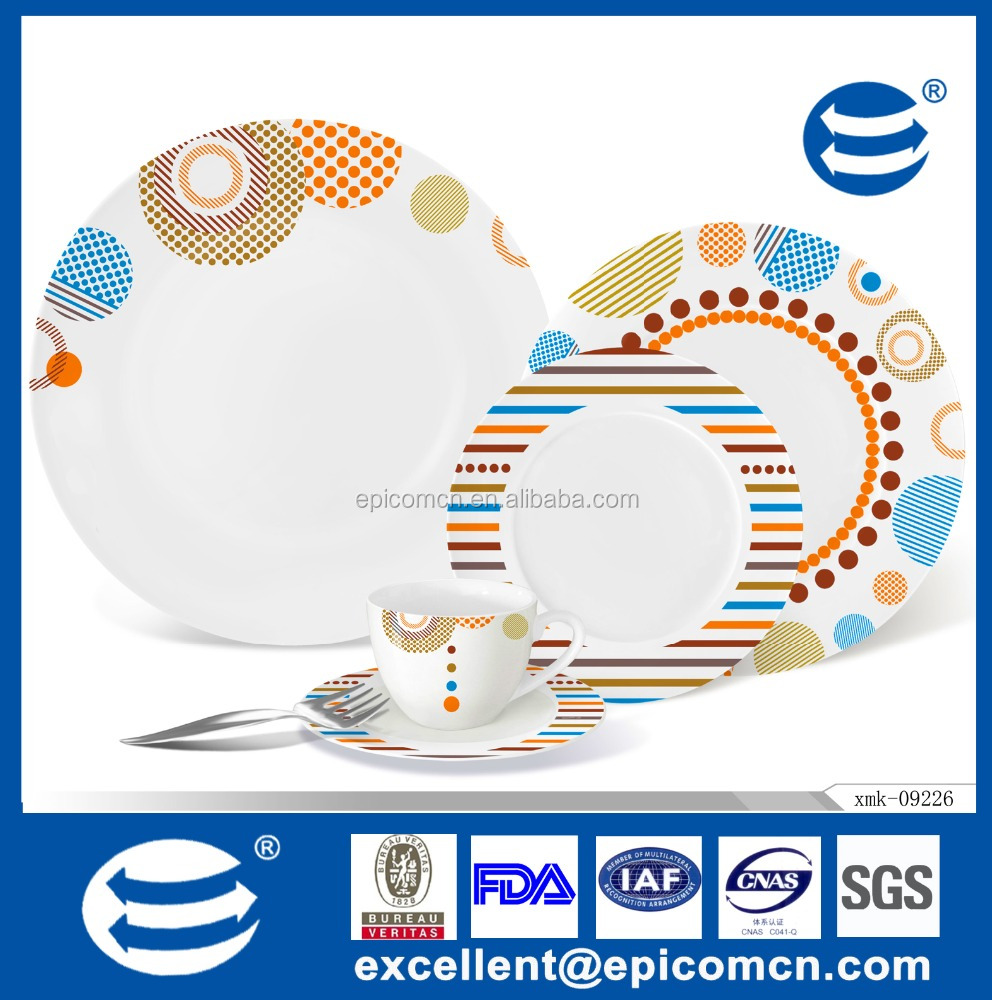 Dinner set with elegant wave design made of porcelain & new bone china audited by AVON