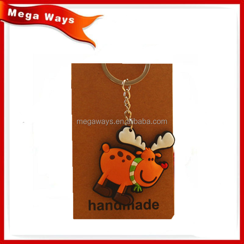 Customized cheap yellow deer Key Ring Resin keychain