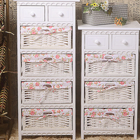 Wooden Furniture with Wicker Basket Drawer