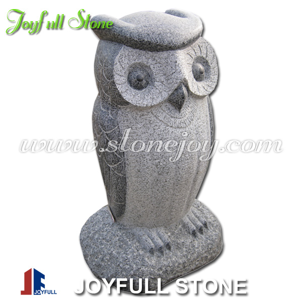 White Owl Figurine, Small Stone Carving, Decorative Landscaping Rocks
