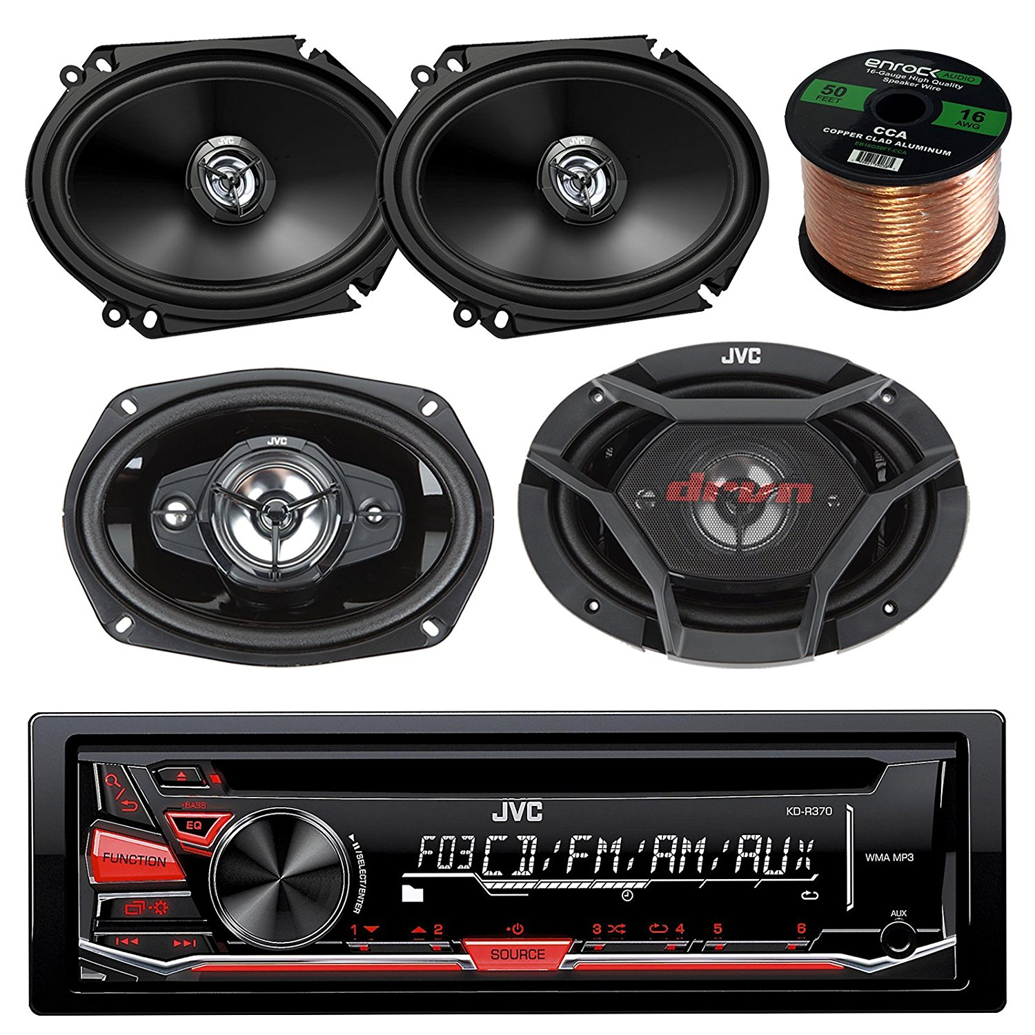 "JVC KD-R370 CD/MP3 AM/FM Radio Player Car Receiver Bundle Combo With 2x CS-DR6820 300-Watt 6x8"" Inch Vehicle Coaxial Speakers + 2x DR6930 6x9"" Inch 3-Way Audio Speakers + Enrock 50 Feet 16-Gauge Wire"