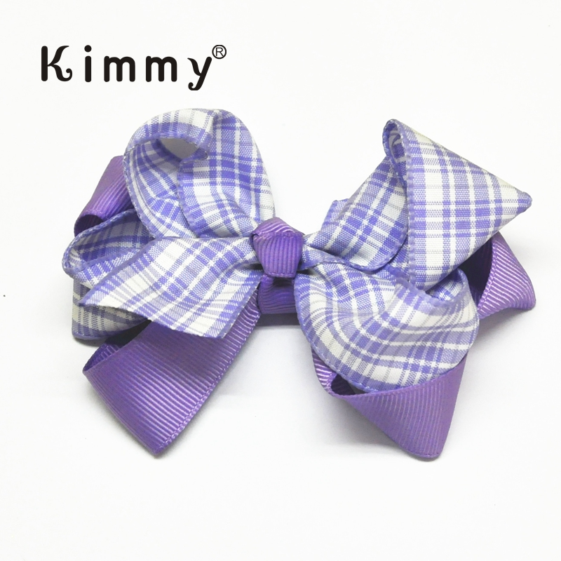 Purple Pink Boutique gingham hairbow Double Layered Girls Hair Bow
