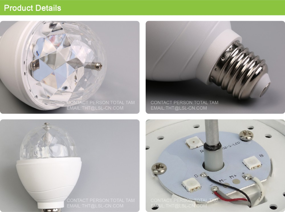 Luckystar 3w E27 Disco Ball Lamp Rgb Rotating Led Strobe Party ...