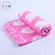 Korean packing printed love shape pink travel blanket for pillow or air conditioning