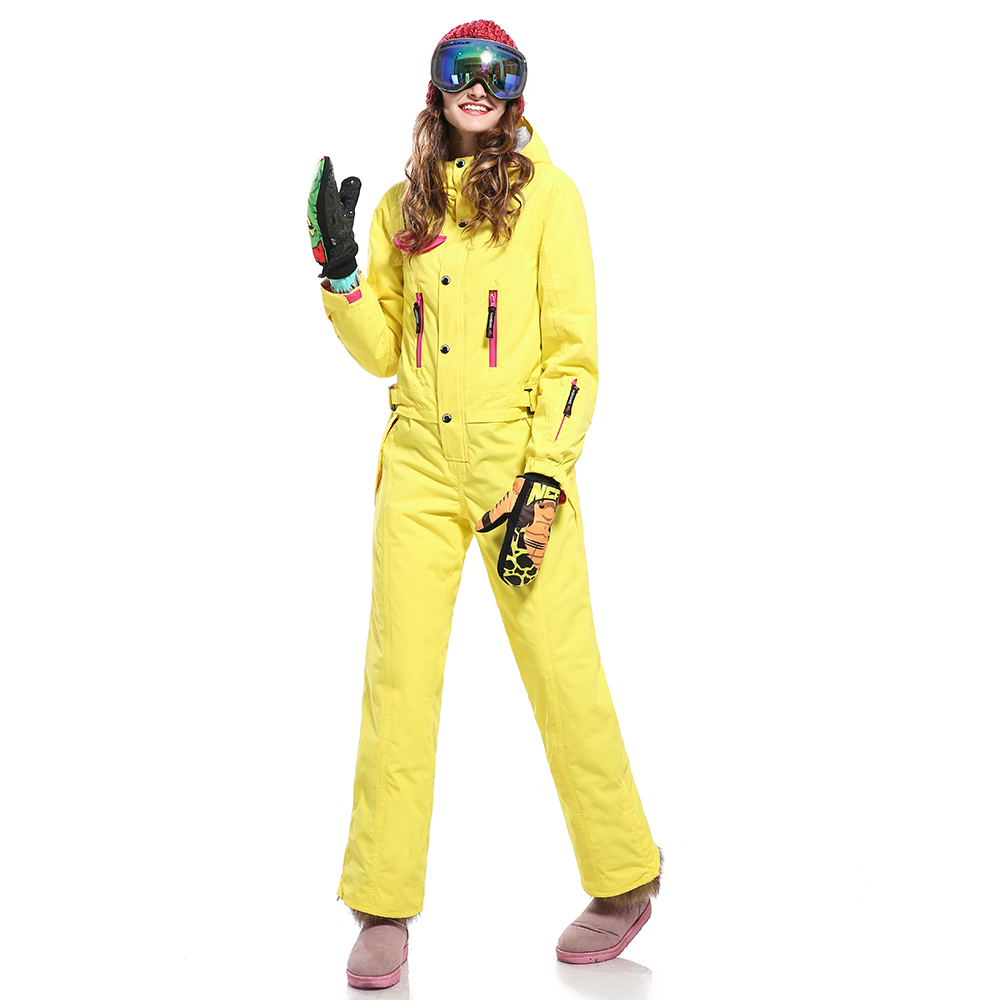 Many zippers and Pockets yellow women yellow snowboarding and ski jumpsuit