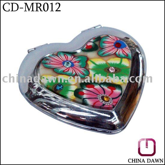 customized logo heart shape mirror with stone CD-MR012
