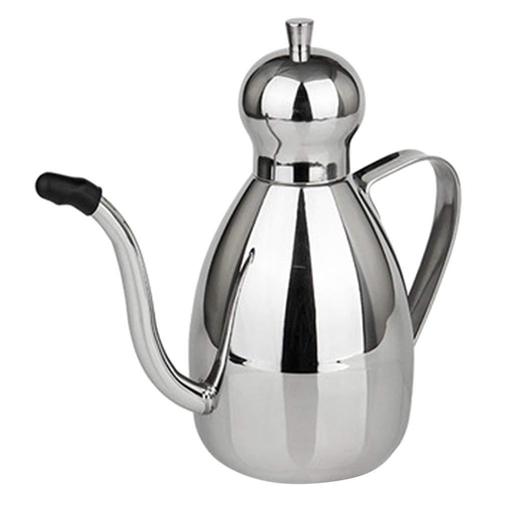 Fenteer Oil Dispenser,Stainless Steel Olive Oil/Vinegar/Sauce Cruet Oil Bottle 0.35L/0.6L/1L - Silver, 0.35L