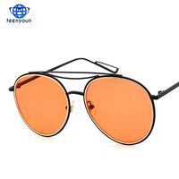 2017 Hot Ray Cool Round Aviator Sunglasses Orange Tinted Candy Color Clear Lens Sun Glasses Celebrity Shades occhiali da sole