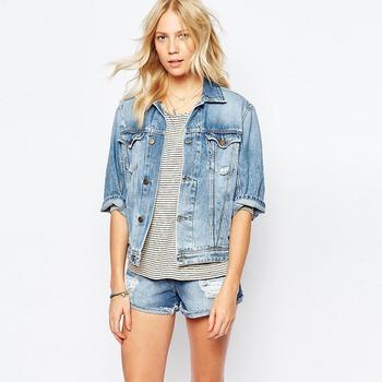 Wholesale Women S Fashion Hip Hop Jacket Denim Jacket Half Sleeve