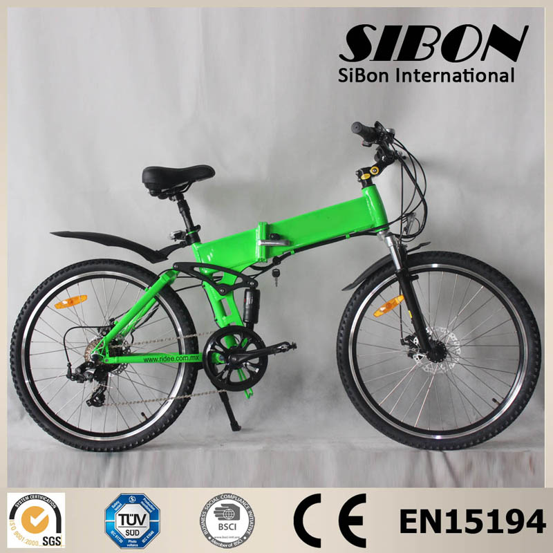 SIBON 250w hidden battery brushless motor suspension fork mountain electric bike <strong>folding</strong>