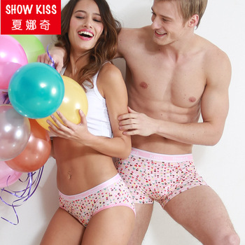 caa3458cd Custom logo couple panties for Valentine s promotion Gift Cotton Men boxers  Sexy Women Underwear